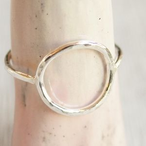 Open circle ring karma sterling silver, geometric